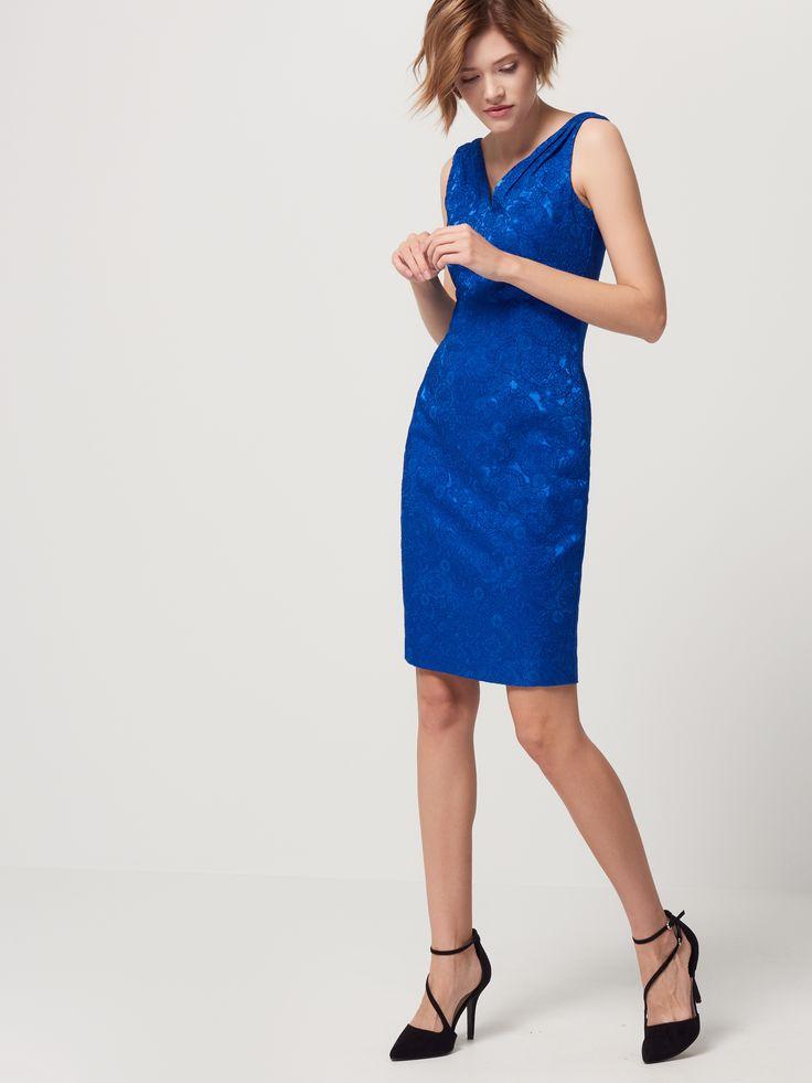 Sukienka z żakardowej tkaniny, SUKIENKI, KOMBINEZONY, niebieski, MOHITO