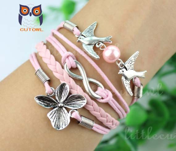 Lucky clover infinity jewelry bird charm bracelet by littlecuteowl, $5.99