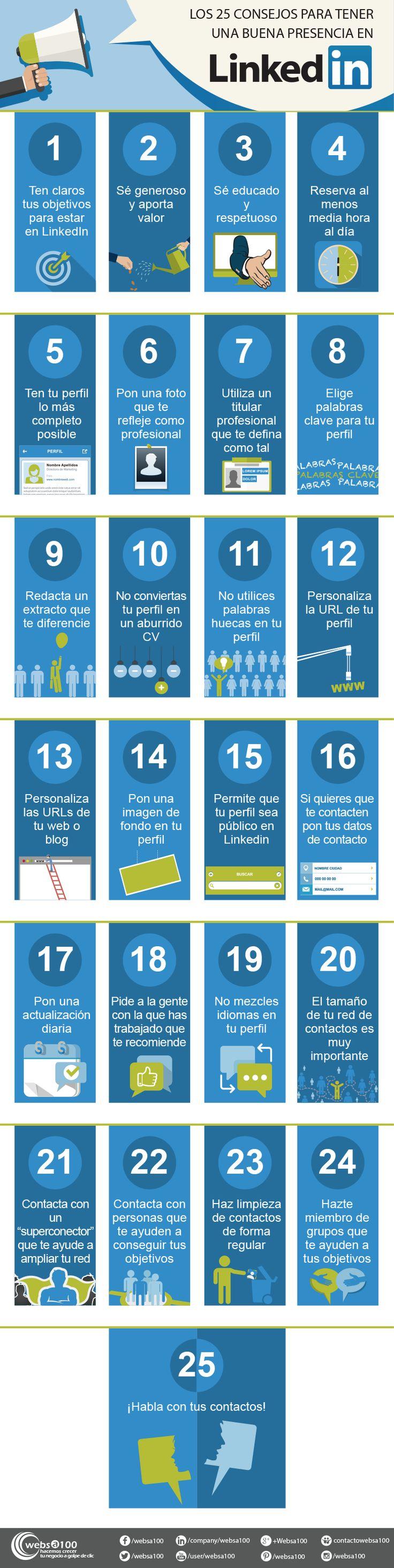 25 consejos para tener una presencia 10 en LinkedIn #LinkedIn #MarcaPersonal