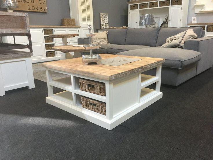 Landelijke witte vierkante salontafel, 95cm