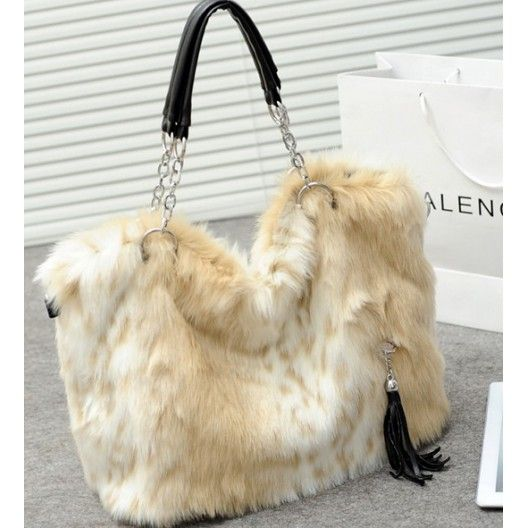 Fashionable vintage faux rabbit fur handbag