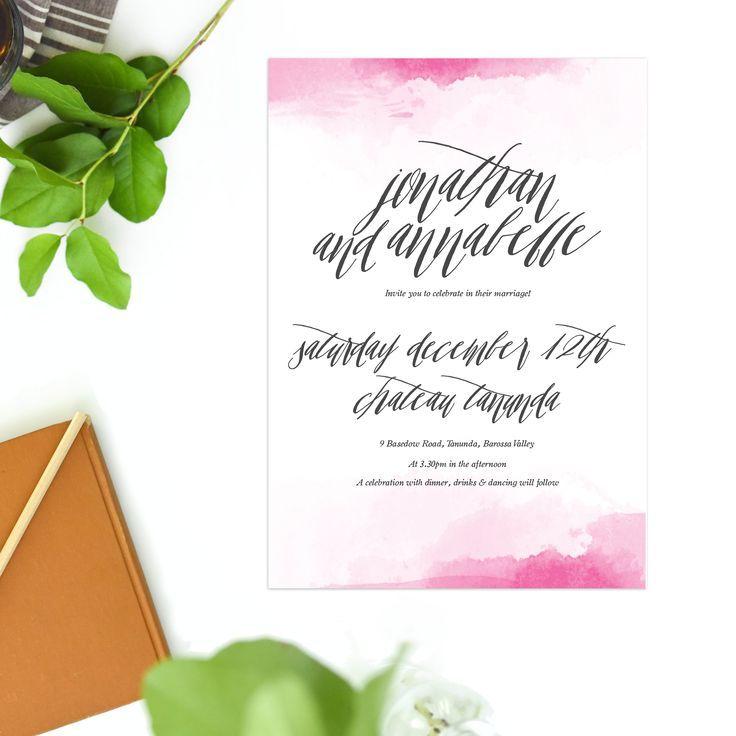 Pink Watercolour Wedding Invitations calligraphy pretty wedding stationery australia sail and swan calligraphy wedding invitations sydney perth melbourne brisbane