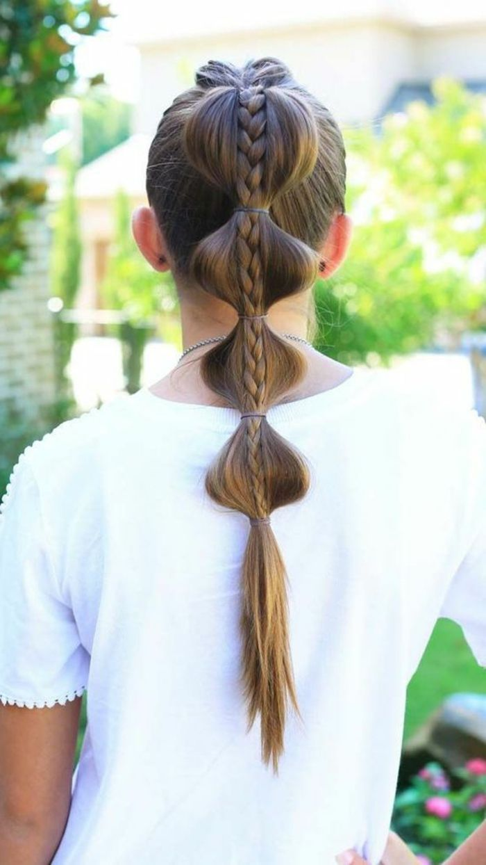 Eine Coole Frauenfrisur Fur Lange Haare Pferdeschwanz Mit Zopf Mit Vielen Haargummis Zum Festh Coole Frisuren Madchen Lange Haare Haarfrisuren Coole Frisuren