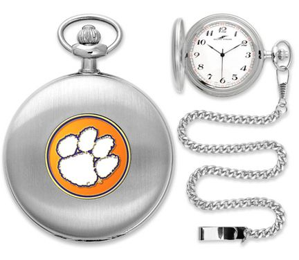 "Clemson Tigers Silver Pocket Watch: ""Suntime has thoughtfully crafted a superior quality… #SportingGoods #SportsJerseys #SportsEquipment"