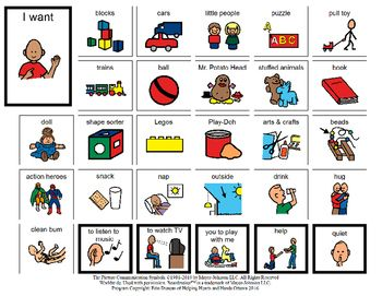 Six communication boards that cover such things as toys needs, food needs, emotion expression, outside toys/playing needs, problems and solutions. Child can use the images to create a sentence to express their needs, wants, feelings etc.Program independently created and copyrighted by Erin Duncan of Helping Hearts and Hands Ottawa 2016.All Images copyright of.Mayer-Johnson2100 Wharton StreetSuite 400Pittsburgh, PA 15203Phone: 1 (800) 588-4548Fax: 1 (866) 585-6260Email…