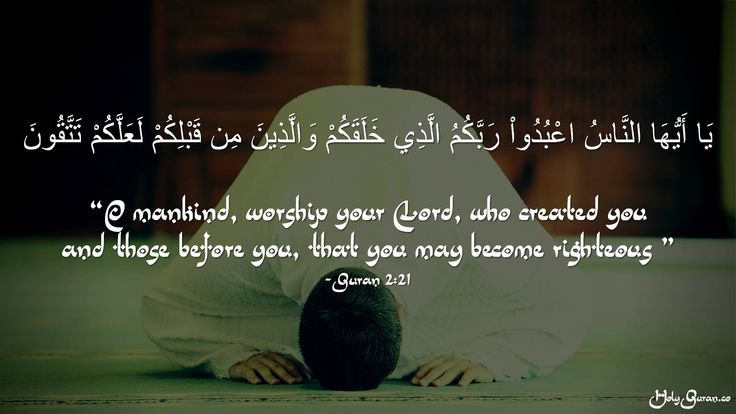 """""""O mankind, worship your Lord, who created you and those before you, that you may become righteous """" - Quran 2:21"""