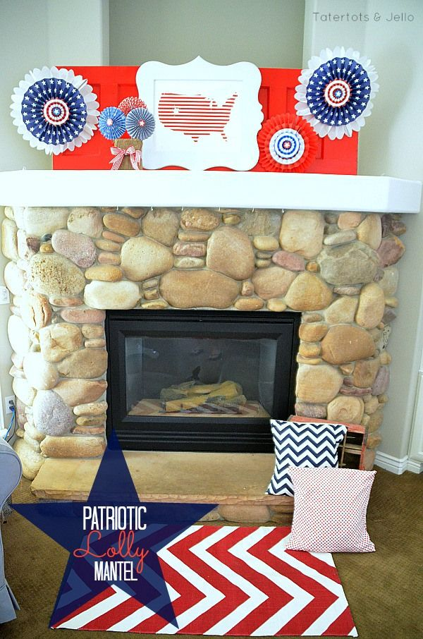 Fourth of July Patriotic Mantel and Make Paper Lollies! -- Tatertots and JelloJuly Patriots, Fireplaces Mantels, Paper Lolly, Patriots Lolly, Patriots Mantels, Fourth Of July, July 4Th, Diy Mantels, Lolly Mantels