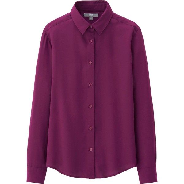 UNIQLO Women Rayon Long Sleeve Blouse (8.57 CAD) ❤ liked on Polyvore featuring tops, blouses, shirts, purple, long sleeve shirts, rayon tops, longsleeve shirt, uniqlo shirt and shirts & blouses