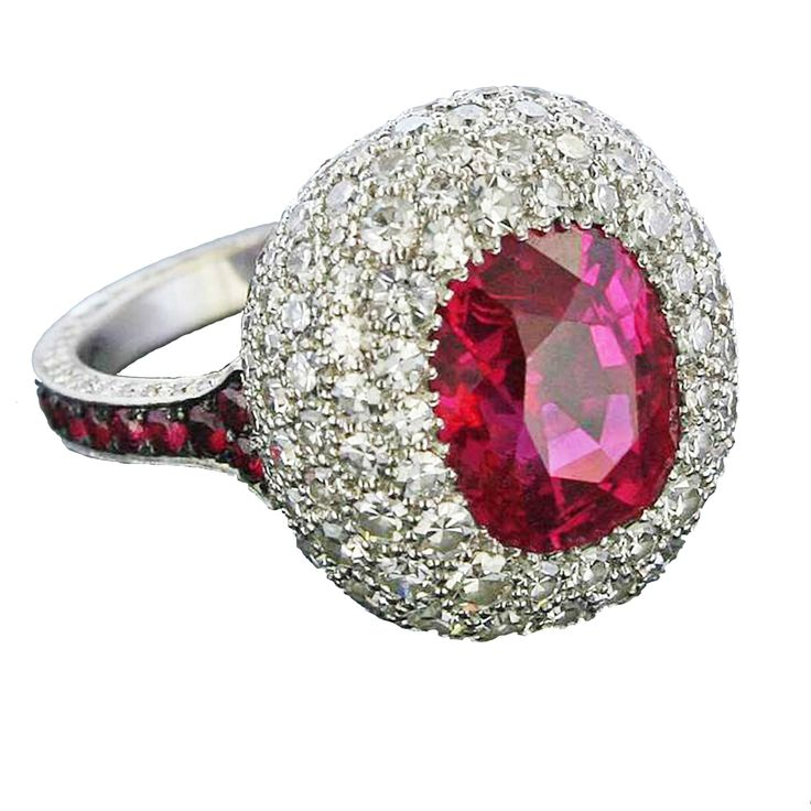 July: Ruby James de Givenchy for Taffin TF2115 Natural Burma Ruby, Diamond and 18k White Gold Ring, Price Upon Request, 212.4216222
