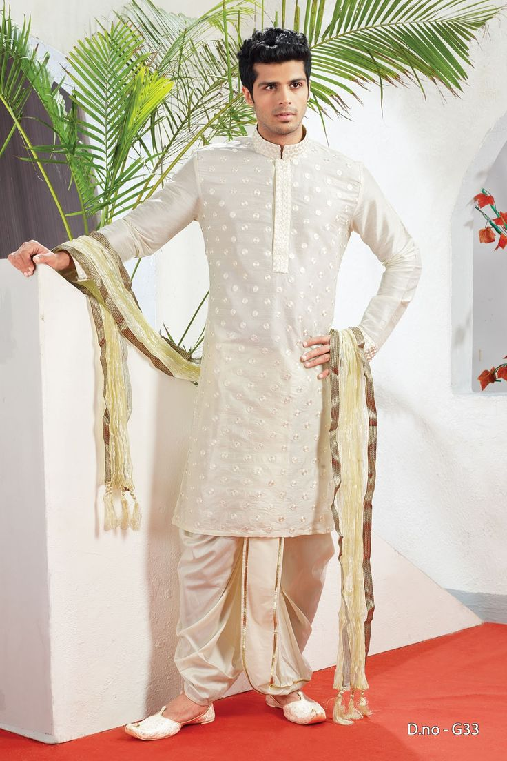 Beige Jacquard Readymade Kurta with Dhoti  http://www.silk-india.com/en/82-kurta-pajama 69.99$  Now, place your Order now : Email:- raksha@silk-india.com