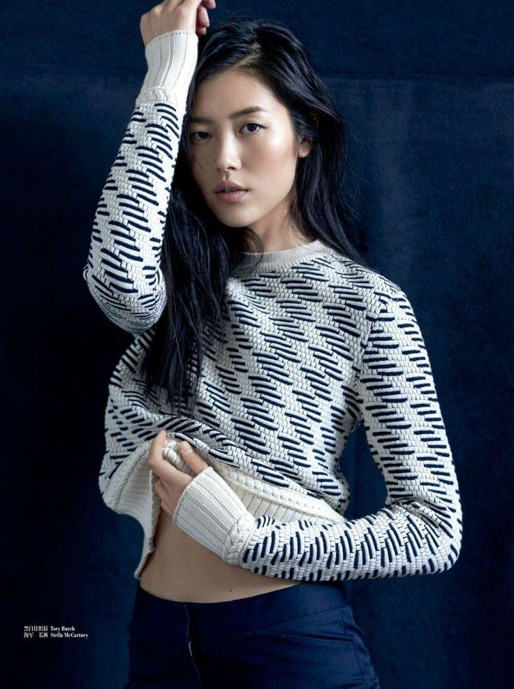 Liu Wen wears a comfy looking sweater for Femina China Magazine November 2015 issue Photoshoot