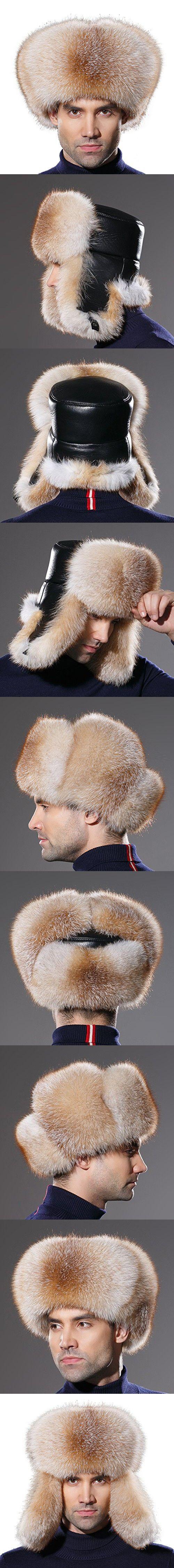 URSFUR Winter Men Fur Hat Real Fox Fur Russian Ushanka Trapper Cap Golden