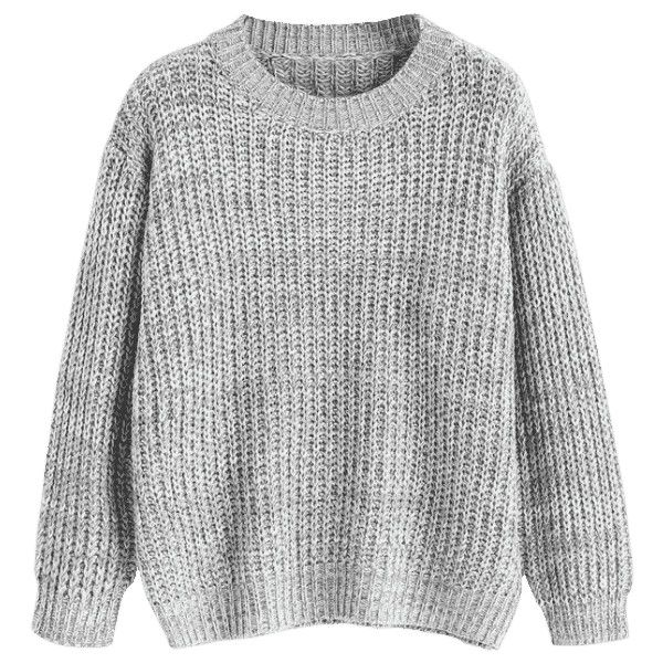 Drop Shoulder Pullover Chunky Sweater Gray (¥3,040) ❤ liked on Polyvore featuring tops, sweaters, shirts, grey pullover, pullover sweater, sweater pullover, pullover top and drop shoulder sweater