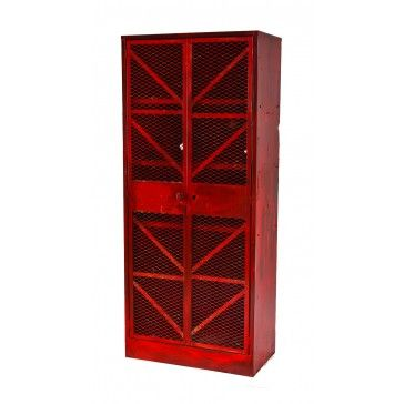 boys.....    giant-sized american industrial red painted factory machine shop lockable storage cabinet with steel mesh hinged doors