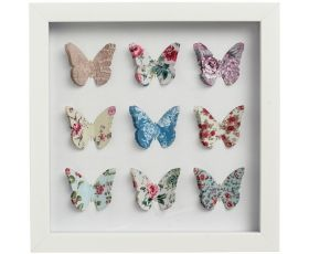 Gogeous paper art in a white frame with mutlicolour butterfly cutouts