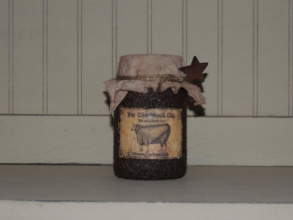 Grungy pint sized mason jar with primitive label and fabric lid. These grungy jars can be made with many different label options to fit your