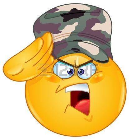 Émoticône soldat saluant dire oui monsieur Banque d'images
