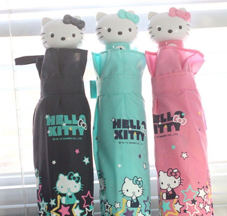 Genuine Hello Kitty Umbrella 3 Fold Automatic Auto Button Woman Lady Girl Kids  #HelloKitty #CompactFoldingautomatic