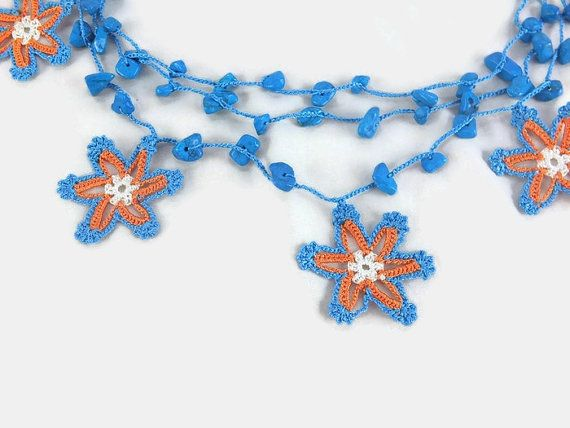 Blue And Orange Star Necklace Three Strand Turkish Oya by Nakkashe