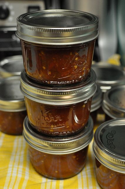 Tomato jam - use it the same way you would ketchup, or eat it with cheese and crackers