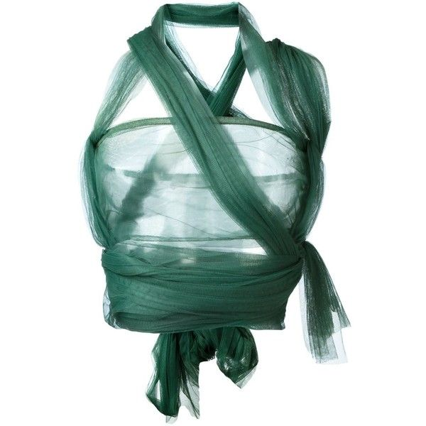 Romeo Gigli Vintage Wrap Around Bandeau Top (2.215 BRL) ❤ liked on Polyvore featuring tops, shirts, green, vintage tops, sleeveless shirts, crop top, sleeveless wrap top and wrap shirt