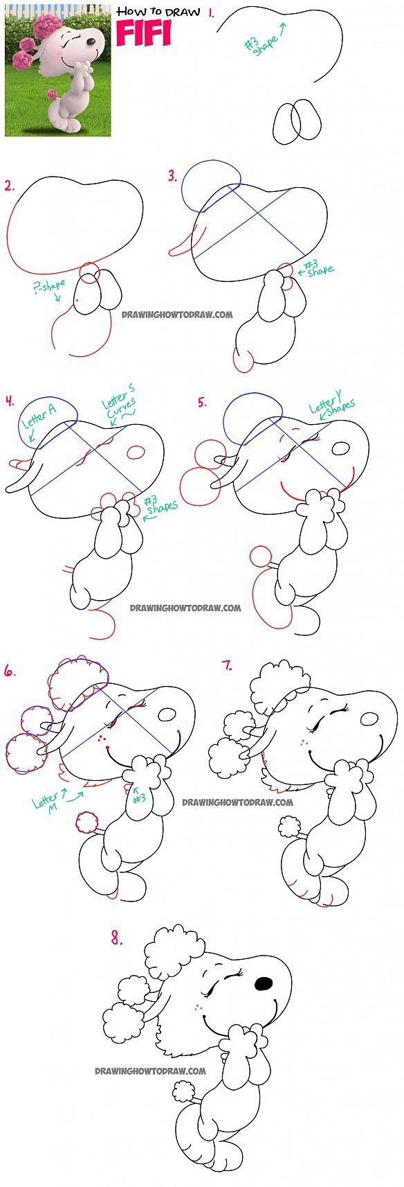 How to Draw Fifi the Girl Dog from The Peanuts Movie Step by Step Drawing Tutorial