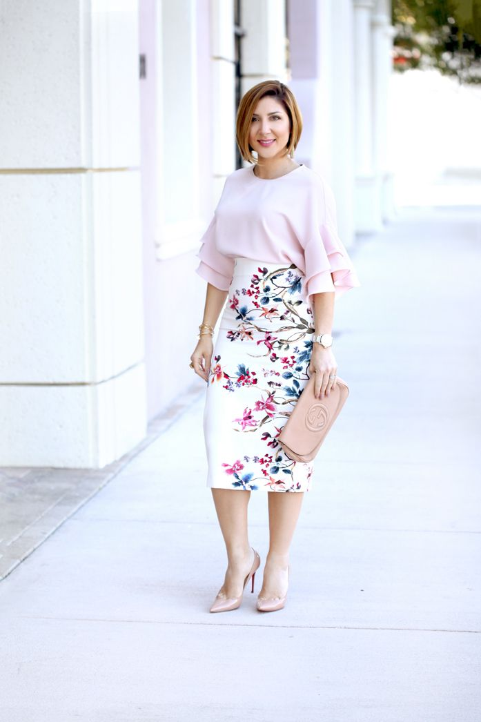 Blame it on Mei, Miami Fashion Blogger, 2017, Elegant Spring Look, Easter Outfit, Wedding guest outfit, Ruffle Top with Floral Pencil Skirt, Blush Louboutin So Kate Heels, Gucci Soho Clutch, Gold Tassel Pinata Earrings by Baublebar