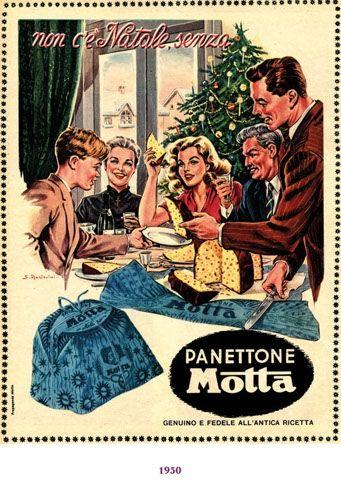 1950, pubblicità natalizia della Motta. Gli aiuti economici... .