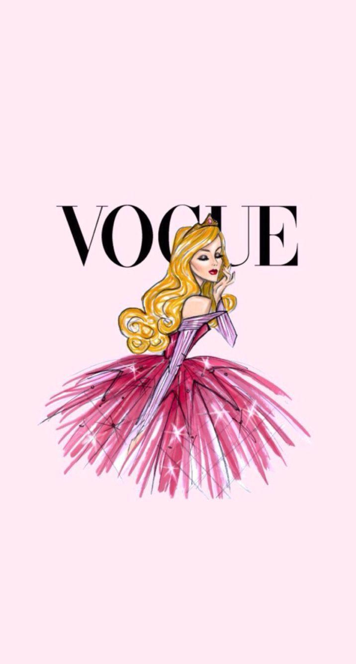 Disney vintage vogue iphone wallpaper aurora fairytale for Fashionable wallpaper designs
