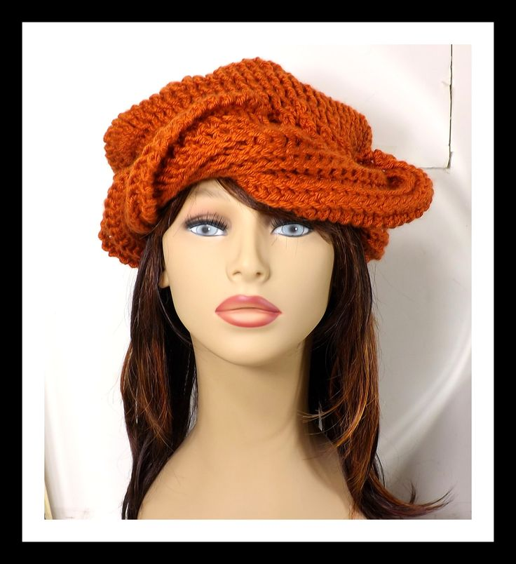 Hand Crochet Hat Womens Hat, SAMANTHA Crochet Turban Hat, Crochet Beanie Hat, Womens Beanie Hat, Womens Winter Hat, Burnt Orange Hat by strawberrycouture on Etsy