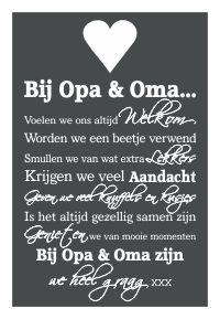 Knuf en Zo::Tekstborden::Tekstbord Bij Opa & Oma