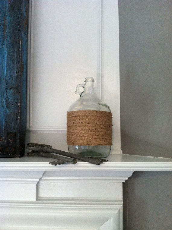 "Gallon Glass Jug wrapped in Jute ""Message in a Bottle"""