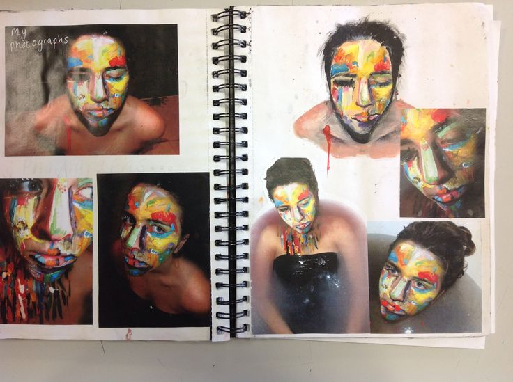 Painting onto a face, photographing it and then painting from the photograph. A great idea.