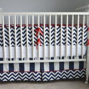 Black And Red Chevron Crib Bedding