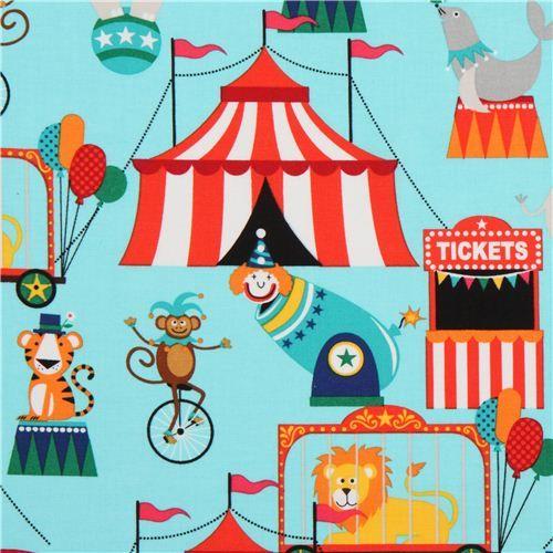 light blue big top and circus animal fabric Michael Miller