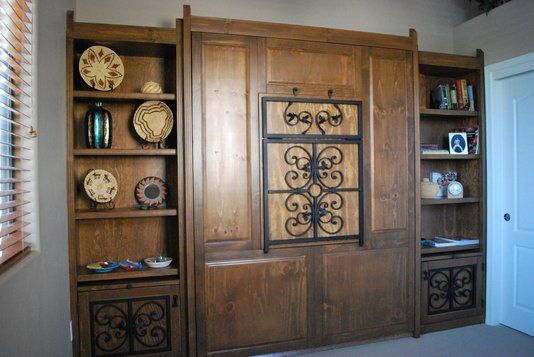 Custom Made Southwestern Murphy Bed  -  Great idea for a small summer cabin, or a cabin when you have guests