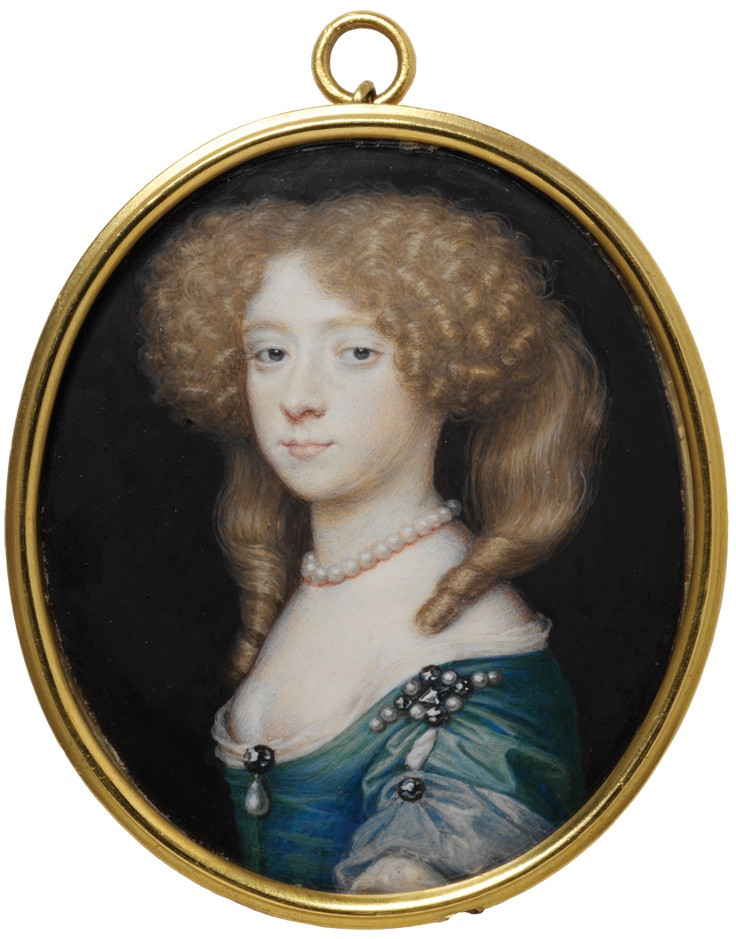 Richard Gibson, portrait of an unknown woman This is possibly of Frances Jennings (about 1648-1730/1). She was a Maid of Honour at the court of Charles II and a celebrated court beauty. She later married Richard Talbot, who became the 1st Duke of Tyrconnell in 1689.