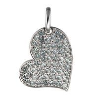 Grey sapphire white gold heart pendant
