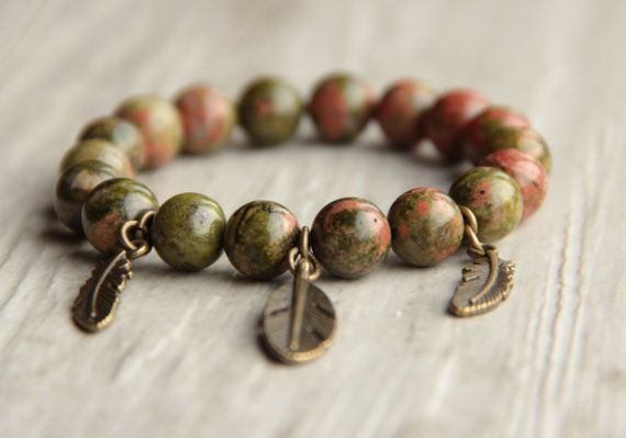 Gift Gemstone green bracelet Unakite natural by AllAboutHandmade1
