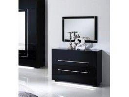 Commode lumineuse + miroir noir Galeazzo