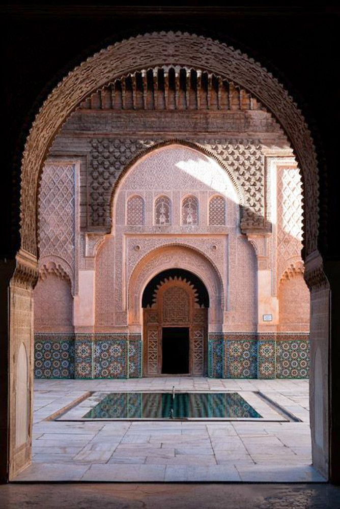 #Beautiful artistic interior of the Ben Youssef Madrasa in #Marrakech, #Morocco ❤️  #Moroccanarchitecture #Modernarchitecture #Holidays #Traveling #Moroccotravel #Visitmorocco #Architecture #Architecturelove #Interiordesign #Travelingram #Travel #Travellingmorocco #Trip #Fun #Travelling #Tourism #ViriksonMoroccoHolidays  Virikson Morocco Holidays provide you a great opportunity to see the beautiful cultural values and Moroccan heritage, so get your cheap holidays to morocco today.