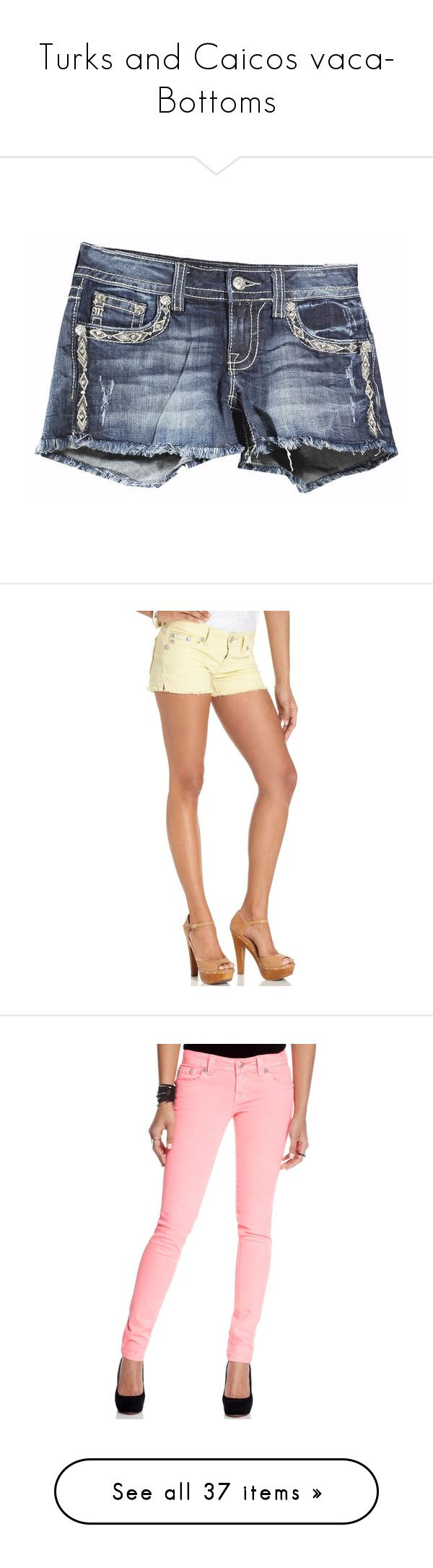 """""""Turks and Caicos vaca- Bottoms"""" by southerngirly-9072 ❤ liked on Polyvore featuring shorts, miss me shorts, denim shorts, cotton shorts, denim short shorts, miss me, pastel yellow, frayed jean shorts, colored denim shorts and low rise jean shorts"""