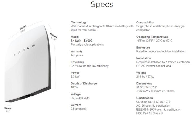 Tesla Powerwall spec - March 2016
