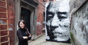 A portrait made with socks, by Hong Yi