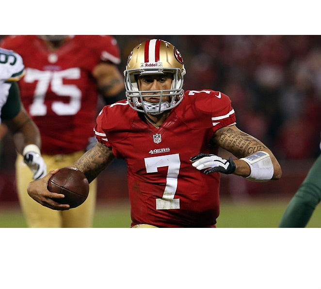 Colin Kaepernick has averaged 11.2 yards per carry and completed 64.5 percent of his passes in the playoffs.