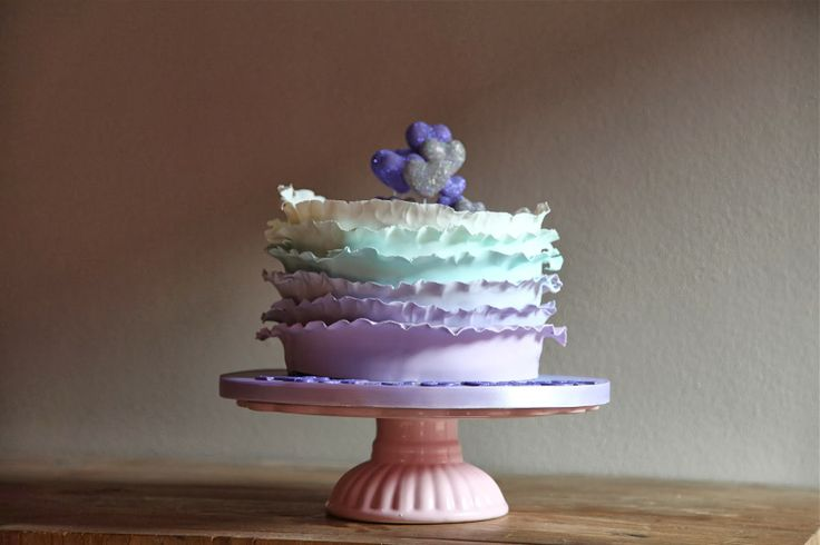 Torta di Violetta, Ruffle Cake, Violet Cake, Pastel Colors Cake