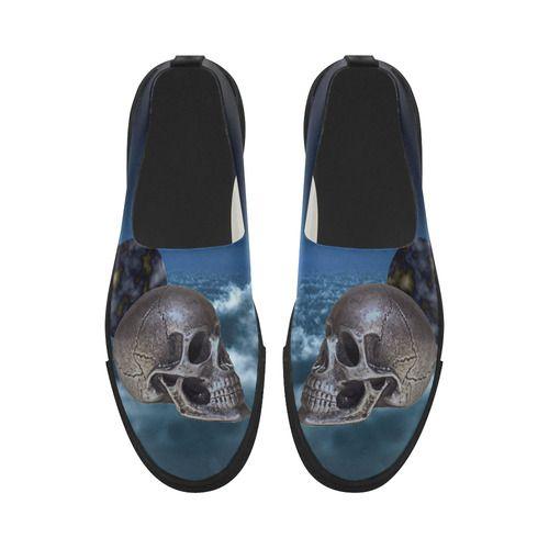 Skull and Moon Apus Slip-on Microfiber Women's Shoes (Model 021)