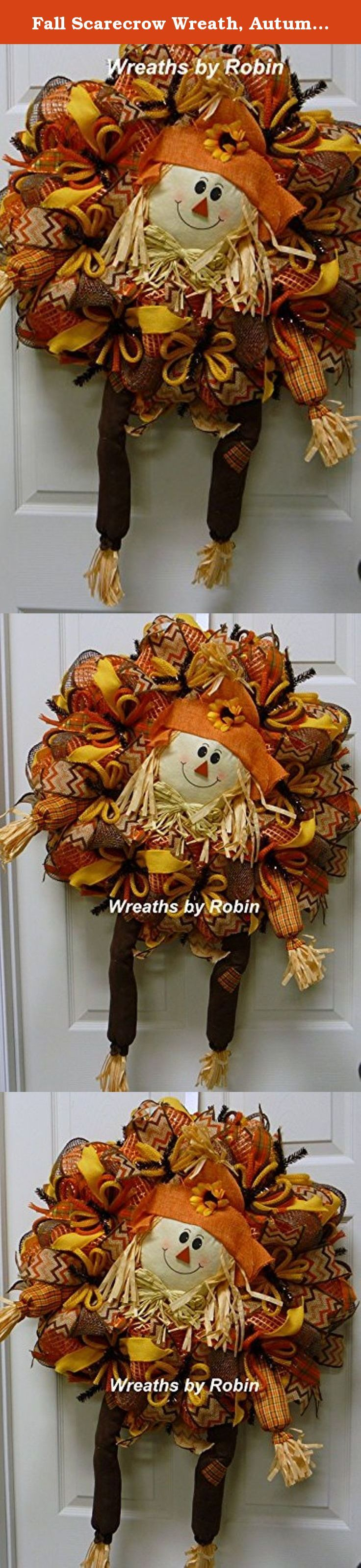 Fall Scarecrow Wreath, Autumn Wreaths, Scarecrow. Boxed and ready for shipping! This cute wreath will look great on your front door for fall this year. It was made on a deco mesh work form with web mesh, four decorative ribbons, 3 jute flex tubing and a large scarecrow in the center! The main part of the wreath is 24 inches in diameter. The legs hang down below the wreath 12-13 inches. Thank you for shopping with Wreaths by Robin.