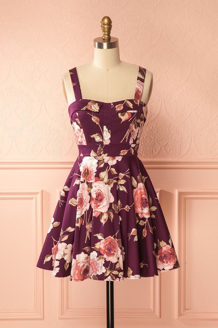 Burgundy floral retro A-line dress - Robe rétro bourgogne fleuri ligne-A