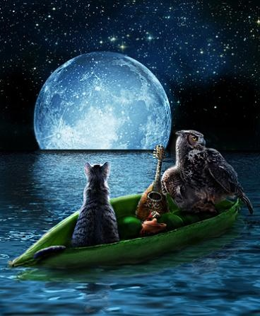 """The Owl and the Pussycat  """"The owl and the pussycat went to sea  In a beautiful pea green boat  They took some honey and plenty of money  Wrapped up in a five pound note..."""""""